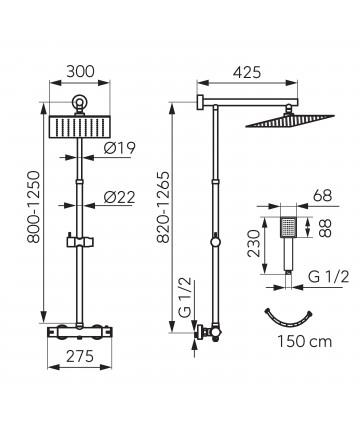 Pachet 2 in 1 Baterie Dus Termostatica, Trevi-Negru, si Rigola dus 70cm negru -NP75SQ-TRV7U-BL+OL70-BL -FERRO -Seturi baterie...