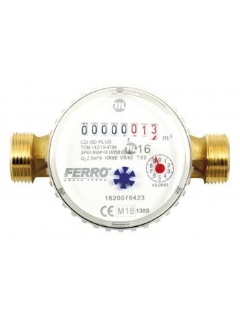 Contor pentru apa cu racorduri filetate 3/4 DN15 -CDSD15AFPLUS -FERRO -Contoare de apa -79,99RON -