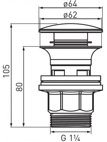 Ventil click-clack pentru chiuvete cu preaplin G 1 1/4 -S287PP-B -FERRO -Ventile scurgere -19,99RON -