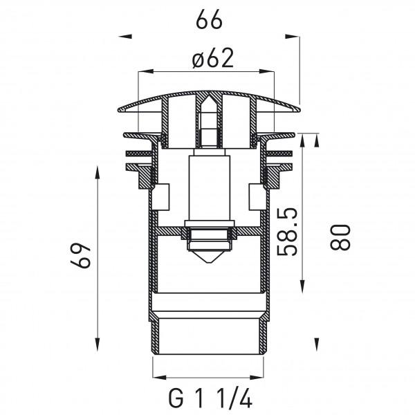 Ventil click-clack cu preaplin - Rotondo inchis G 1 1/4 pentru scurgere baie, nichel partial -S285NC -FERRO -Ventile scurgere...