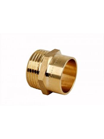 """Niplu alama pentru racordare teava fier/plastic- teava cupru, filet exterior 28mm*3/4"""" -4243-2802 -FERRO -Fitinguri din alama..."""