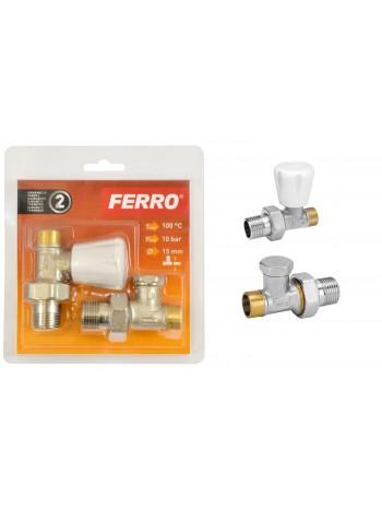 "Set robineti tur/retur calorifer drept 1/2"" prin lipire -ZGL01 -FERRO -Supape pentru lipire -39,99RON -"
