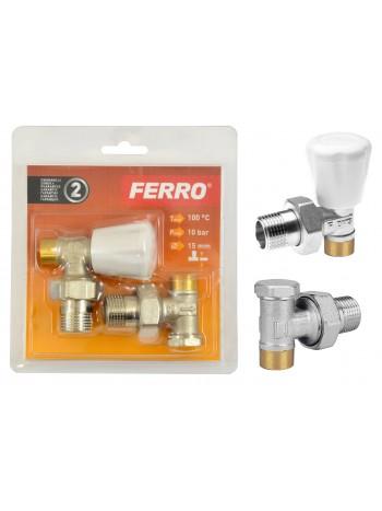 "Set robineti tur/retur calorifer coltar 1/2"" prin lipire -ZGL02 -FERRO -Supape pentru lipire -39,99RON -"
