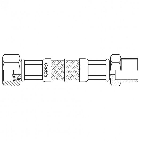 "Racord flexibil otel garnitura 1/2"" interior-exterior 90cm -PWS81 -FERRO -Racorduri metalice pentru apa -10,99RON -"