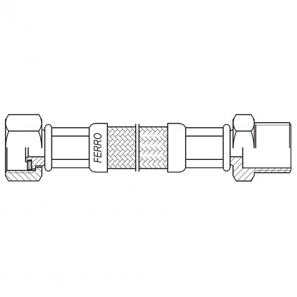 "Racord flexibil otel garnitura 1/2"" interior-exterior 100cm -PWS91 -FERRO -Racorduri metalice pentru apa -10,99RON -"