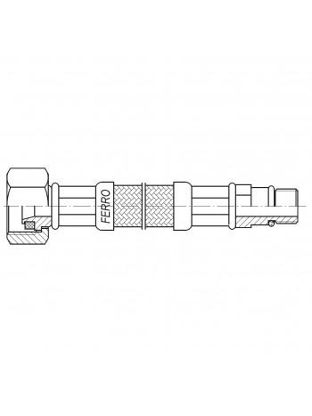 "Racord flexibil 1/2""xM10x1 cu capat scurt 50cm -WBS22 -FERRO -Racorduri metalice pentru apa -7,49RON -"