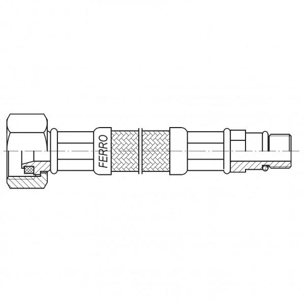 "Racord flexibil 1/2""xM10x1 cu capat scurt 90cm -WBS85 -FERRO -Racorduri metalice pentru apa -8,99RON -"