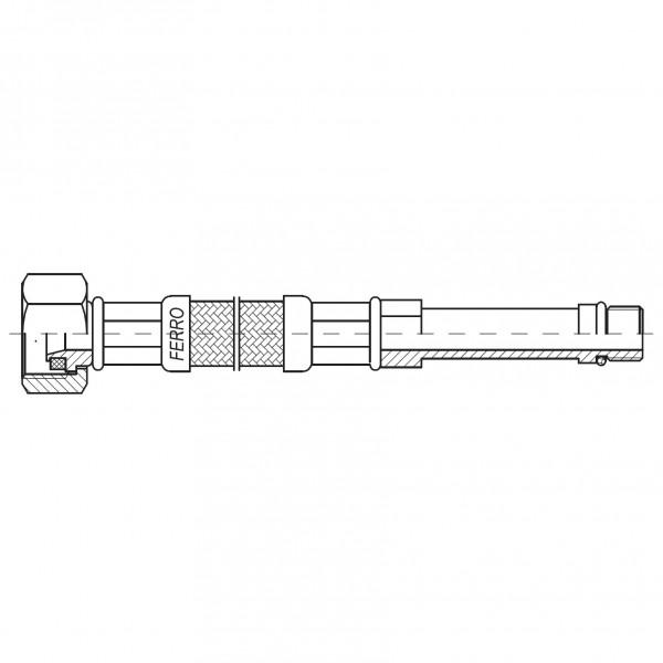 "Racord flexibil otel 1/2""xM10x1 cu capat lung 100cm -WBS20 -FERRO -Racorduri metalice pentru apa -9,99RON -"