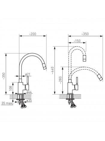 Zumba - baterie stativa bucatarie cu pipa flexibila -BZA4B -FERRO -Baterii bucatarie -199,99RON -product_reduction_percent