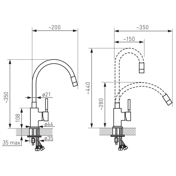 Zumba - baterie stativa bucatarie cu pipa flexibila -BZA4B -FERRO -Baterii bucatarie -217,99lei -product_reduction_percent