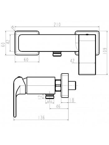Baterie pentru dus cu montaj pe perete Nobless Sharp -37061/1.0 -FERRO -Nobless Sharp -279,99RON -