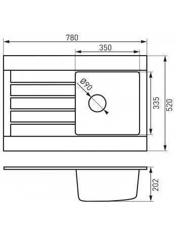 OZZY chiuveta cu o cuva 78x52 cm alb -DRG52/78W -FERRO -Chiuvete granit -649,99RON -
