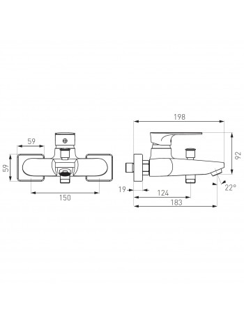 Square - baterie cada/dus perete -BAQ1 -FERRO -Square -299,99RON -