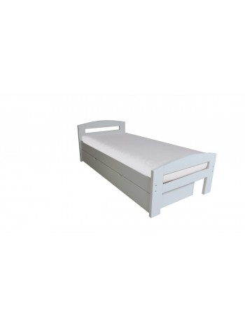Pat dormitor Serena, cu lada de depozitare, 100×200 cm, alb mat -WD-100 -Habe WOOD -Paturi si saltele -729,99lei -
