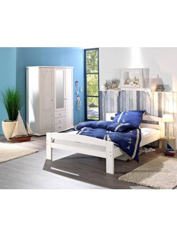 Pat dormitor Serena, lemn brad, 1 persoana ,90×200 cm alb -w-90 -Habe WOOD -Paturi si saltele -399,00RON -