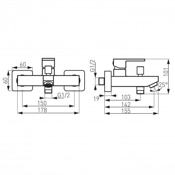 Baterie cada/dus perete negru Zicco -BZI1BL -FERRO -Zicco Black -383,99lei -product_reduction_percent