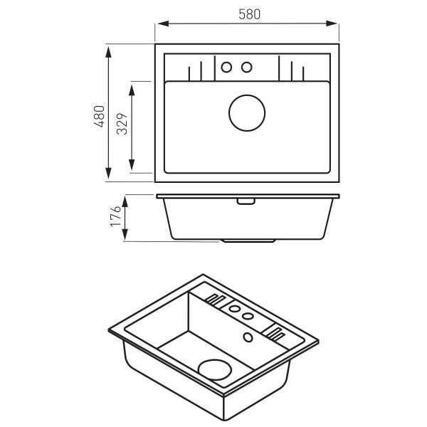 Mezzo II - Chiuveta bucatarie simpla 58x48 cm, grafit lucius -DRGM1/48/58HA -FERRO -Chiuvete granit -624,98lei -product_redu...