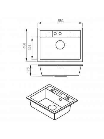 Mezzo II - Chiuveta bucatarie simpla 58x48 cm, gri -DRGM1/48/58GA -FERRO -Chiuvete granit -624,98lei -product_reduction_percent