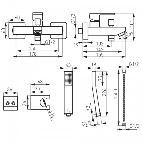 """Pachet 2 Baterii Ferro Zicco: Cada/Dus, Bucatarie """"Lebada"""", crom -BZI11-BZI4 -FERRO -Seturi baterie dus  -687,99lei -product..."""