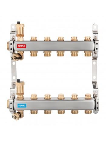 Distribuitor/Colector 1``- 5 Cai FERRO din Otel Inoxidabil pentru incalzire radiatoare -SN-ROU05S -FERRO -Distribuitori/colec...