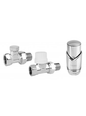 "Set robineti radiator tur retur drepti 1/2"" cu cap termostatic, crom -ZTM30CR -FERRO -Seturi termostatice -109,99lei -produc..."