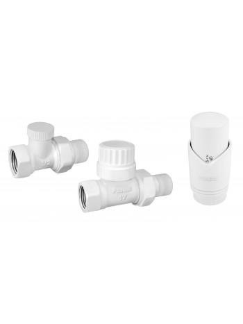 """Set robineti radiator tur retur drepti 1/2"""" cu cap termostatic, alb -ZTM30WH -FERRO -Seturi termostatice -119,99lei -product..."""