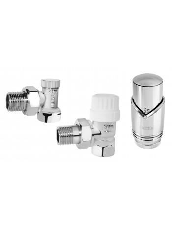 """Set robineti radiator tur retur coltari 1/2"""" cu cap termostatic, crom -ZTM31CR -FERRO -Seturi termostatice -99,99lei -produc..."""