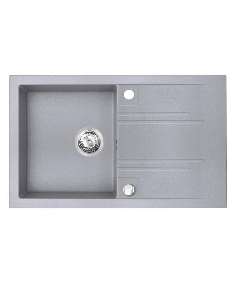 Chiuveta granit bucatarie simpla 78x48 cm, grafit lucios Mezzo II -DRGM48/78GA -FERRO -Chiuvete granit -690,00lei -product_r...