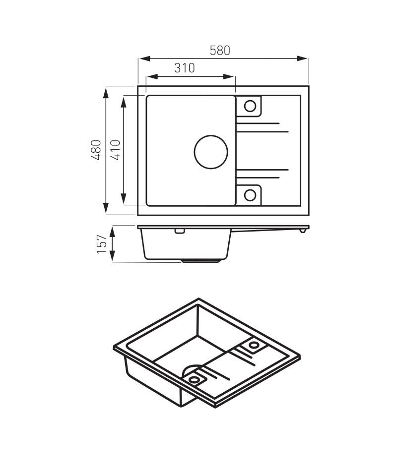 Chiuveta granit bucatarie simpla 58x48 cm, grafit lucios Mezzo II -DRGM48/58HA -FERRO -Chiuvete granit -649,98lei -product_r...