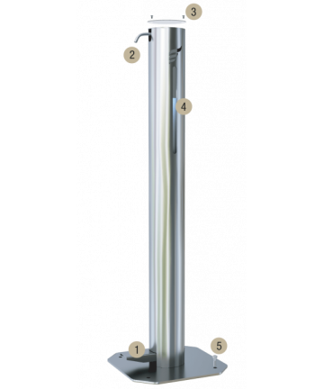 Dispenser gel sau lichid dezinfectant pentru maini, cu actionare la pedala, otel inoxidabil 3 Litri -Astreea_XL - -Acasa -1,4...