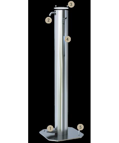 Dispenser gel sau lichid dezinfectant pentru maini, cu actionare la pedala, otel inoxidabil 3 Litri