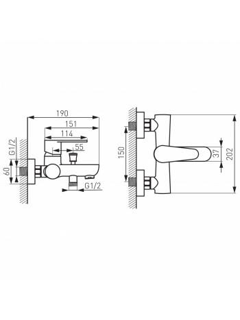 Baterie de cada dus Ferro Algeo, cu Set Para Dus Cu Furtun Si Agatatoare Anti Twist Negru mat -BAG1BL+MINI869.5 -FERRO -Setur...