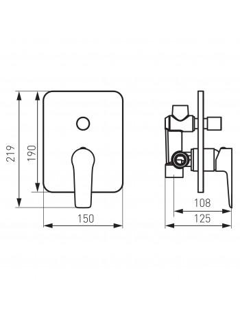 Adore Black - baterie ingropata cada/dus alb cu 2 iesiri -BDR7PBLC -FERRO -Adore Black -479,99lei -product_reduction_percent