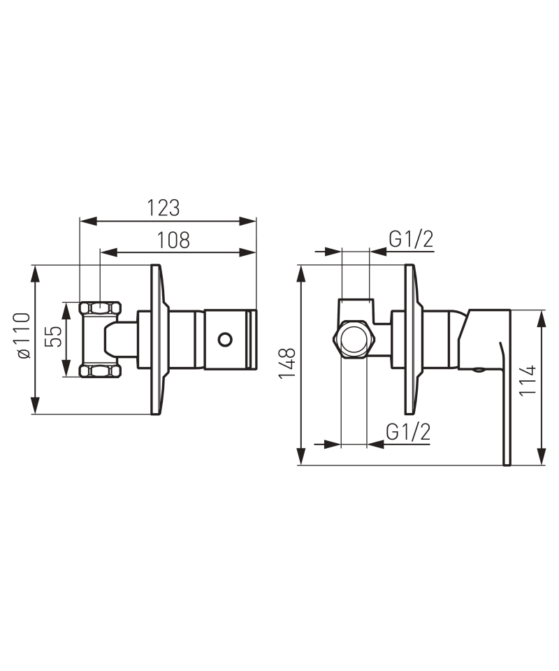 Set 3 in 1: baterie ingropata dus si set dus igienic Algeo -SET-ROT1-P -FERRO -Seturi dus ingropat -479,99lei -