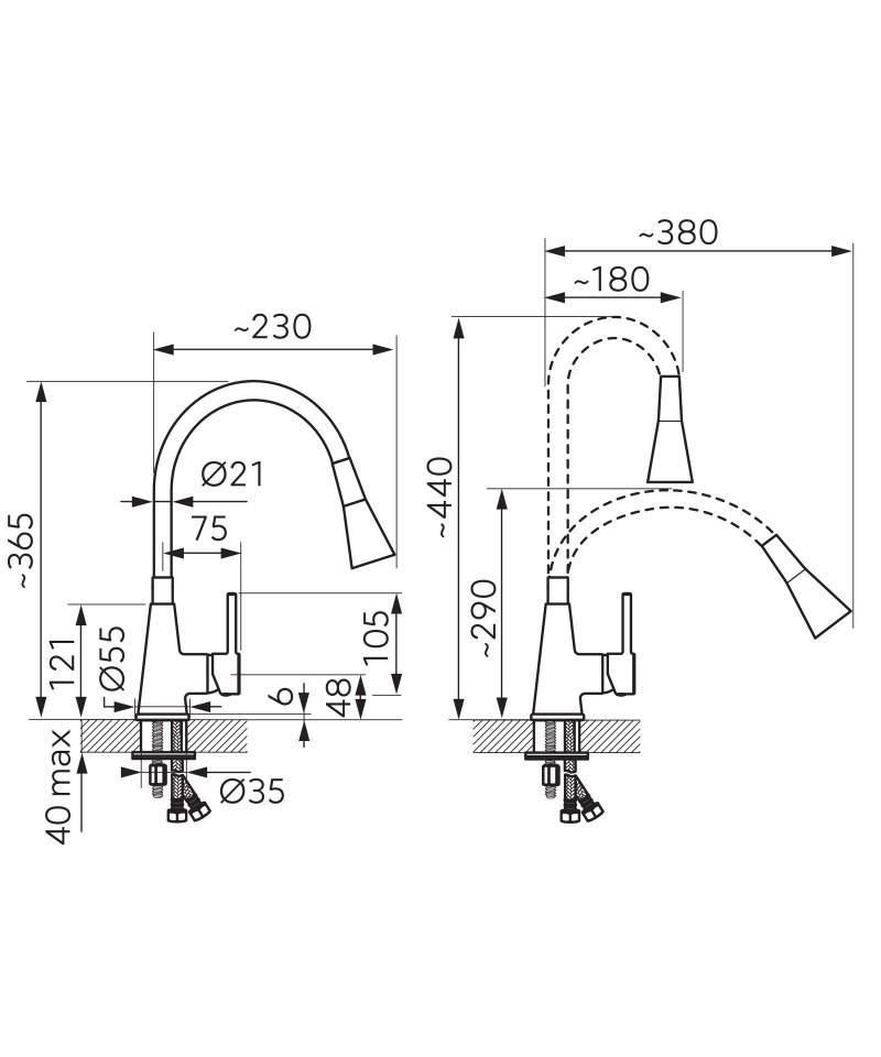 Set Chiuveta Ferro Mezzo II 1 Cuva 580 x 480 mm si Baterie Ferro Zumba2 cu Pipa Flexibila Grafit -DRGM1/48/58BABZA42B -FERRO ...