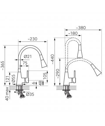 Set Chiuveta Ferro Mezzo II 1 Cuva 580 x 480 mm si Baterie Ferro Zumba2 cu Pipa Flexibila Gri -DRGM1/48/58GABZA42S -FERRO -Ch...