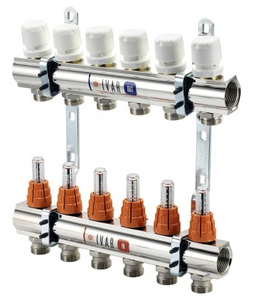 "Distribuitor colector 12 cai IVAR din alama cromata BARA 1"" X 3/4 EK cu 12 circuite cu robineti si debitmetru -500092MN -IVAR..."