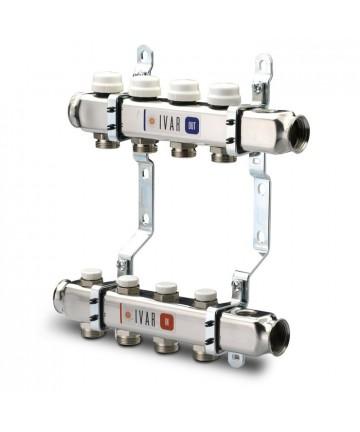 """Distribuitor colector 4 cai IVAR din inox BARA 1"""" X 3/4"""" EK cu 4 circuite -503574 -IVAR -Distribuitori/colectori din inox -26..."""