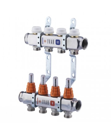 "Distribuitor colector 4 cai IVAR din INOX BARA 1"" X 3/4 EK cu 4 circuite cu robineti si debitmetru -503204 -IVAR -Distribuito..."