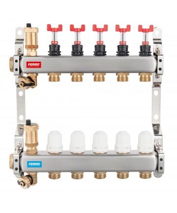 """Distribuitor colector 5 cai din INOX BARA 1"""" X 3/4 EK cu 5 circuite cu robineti si debitmetru -SN-RZPU05S -FERRO -Distribuito..."""