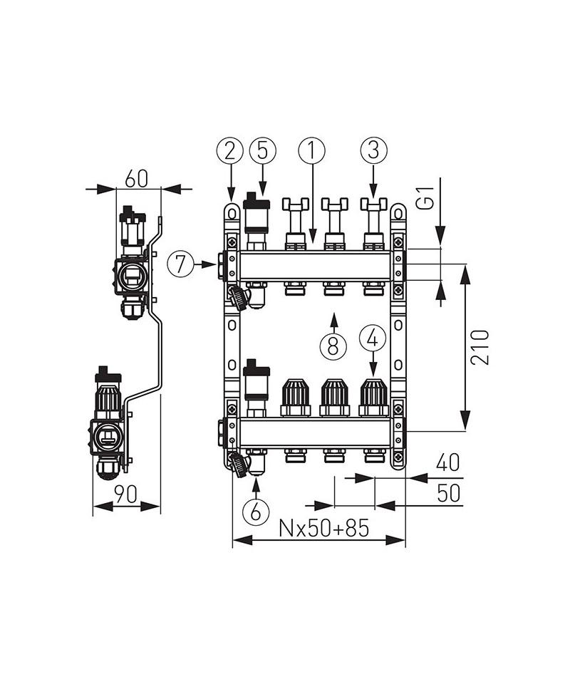 """Distribuitor colector 8 cai din INOX BARA 1"""" X 3/4 EK cu 8 circuite cu robineti si debitmetru -SN-RZPU08S -FERRO -Distribuito..."""
