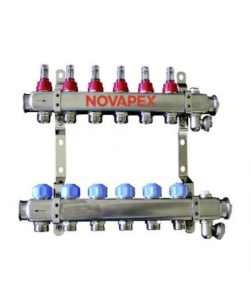 """Distribuitor colector 6 cai din INOX BARA 1"""" X 3/4 EK cu 2 circuite cu robineti si debitmetru -NOV.180222506 -Frankische -Dis..."""