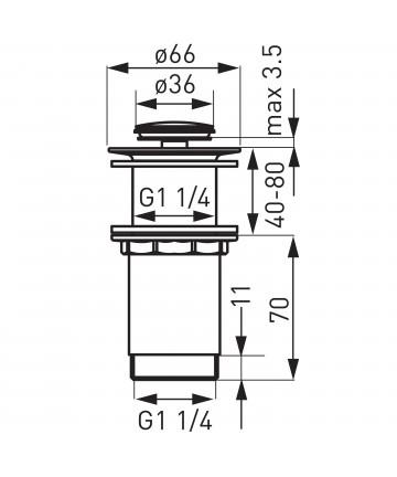 """Ventil de scurgere inalt D.1 1/4"""" pentru lavoare cu montaj pe blat -S283-WBP -FERRO -Ventile scurgere -68,74lei -product_red..."""