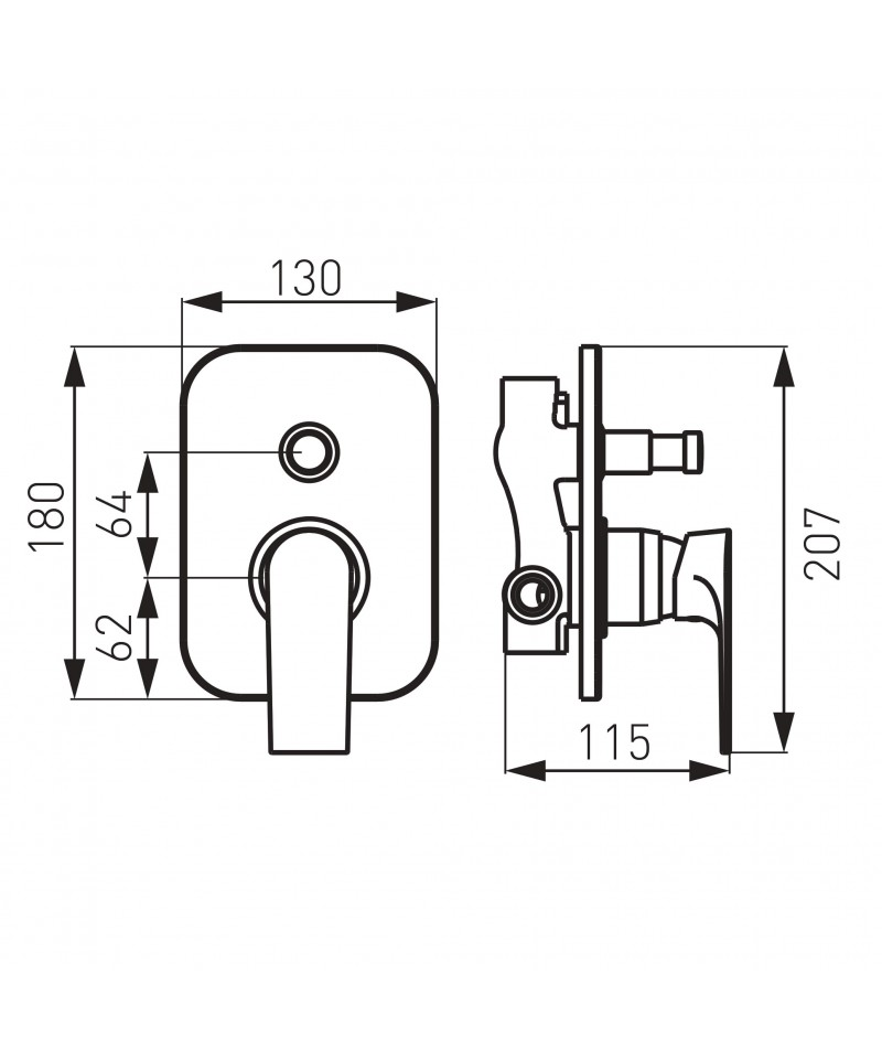 Sistem complet 6 in 1 cu baterie incastrata Square Ferro cromat -BAQ7P+D_KVADRO.0+RAM400.0+RUP_301.4+S190VL-B+W54 -FERRO -Set...