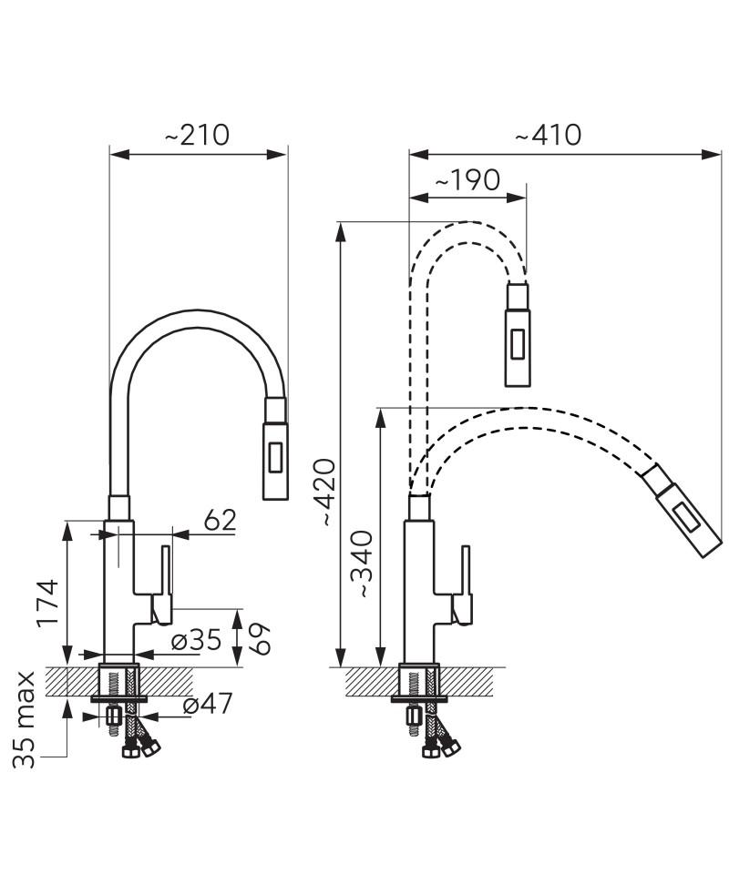Baterie bucatarie cu pipa flexibila cu doua functii Negru - Zumba3 -BZA43B -FERRO -Baterii bucatarie -412,49lei -product_red...