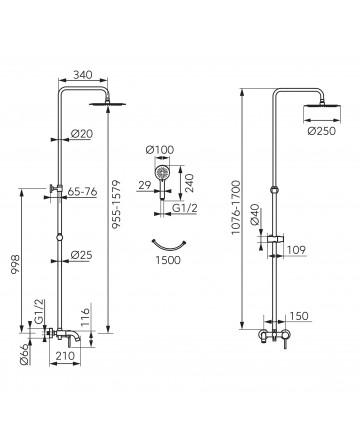 Sistem de dus cu baterie pentru cada-dus Fiesta -NP79-BFI13U -FERRO -Seturi baterie dus  -1,099.99 --25%